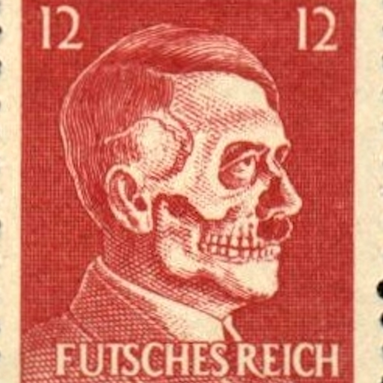 Hitler Skull Head propaganda stamp produced by U.S. OSS Service during WWII. Original issue made by organization that was the forerunner of the CIA. 1945